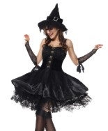 костюм ведьмы в чёрном платье и колпаке