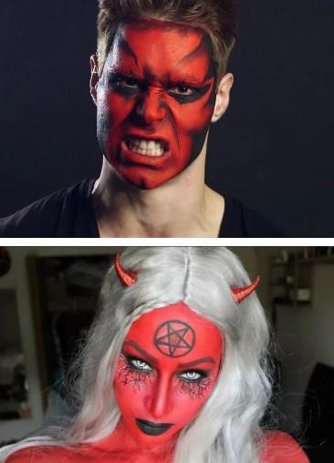 грим дьявола и черта (красный, с пентаграммой)