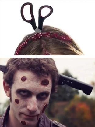 грим зомби: нож из головы, кровавый грим