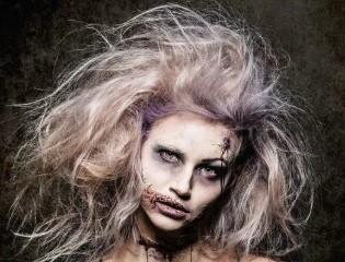 причёска призрака и грим на Хэллоуин