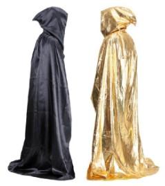 плащ ведьмы (чёрный и золотистый) с капюшоном