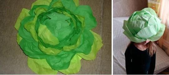 как сделать бумажную шапку капусты