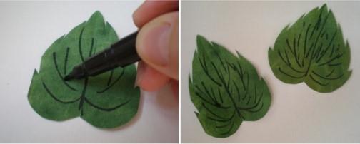 зелёные листочки из бумаги