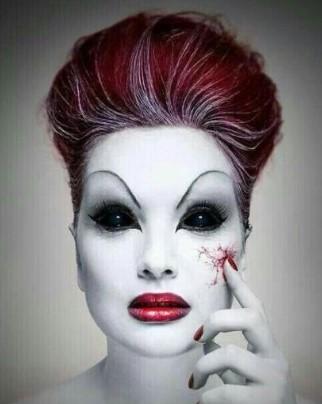 макияж вампирши: сосудистая сетка на лице