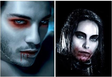 мужской грим вампира на Хэллоуин