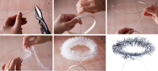 6 картинок: проволочный каркас нимба с мишурой