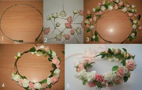 5 картинок: венок из белых и розовых цветов