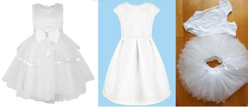 2 платья на белом и голубом фоне и балетная пачка на коричневом.