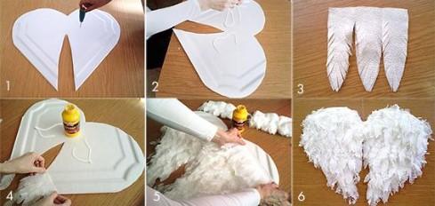 6 пронумерованных картинок создания крыльев