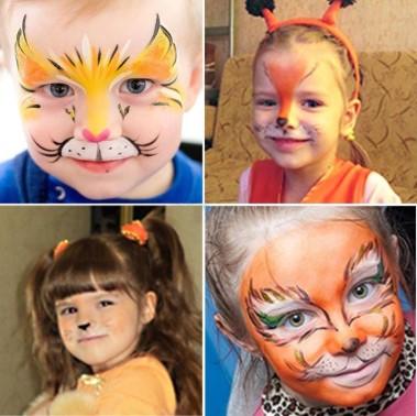 4 детских лица в гриме