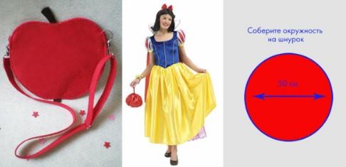 Красная сумочка-яблоко, Белоснежка с сумочкой и выкройка: красный круг с синей стрелкой