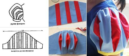 Рукава-фонарики из ткани их чёрно-белая выкройка