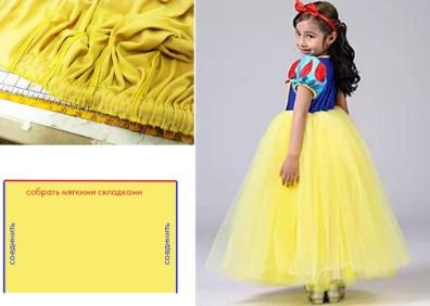 Жёлтая ткань и линейка, цветной прямоугольник со словами и Белоснежка в пол оборота