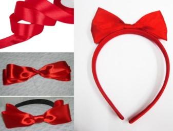 Красные: лента, бантики и ободок с бантом