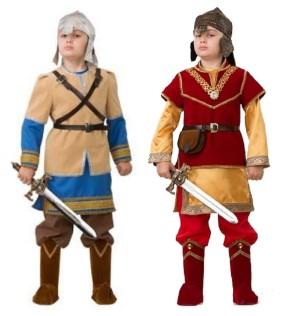 2 богатыря: в бежево-голубом и красно-желтом