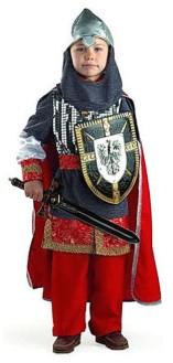 Богатырь с черными мечом и щитом