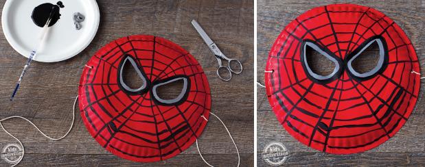 Завершающий этап изготовления маски из бумаги для костюма Человека-паука
