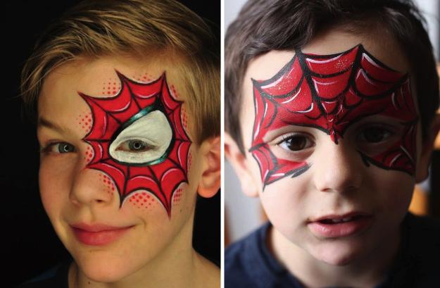 Грим для мальчика для костюма Человека-паука