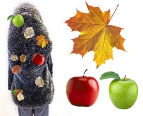 Накидка ежа с фруктами и листьями и лист с двумя яблоками