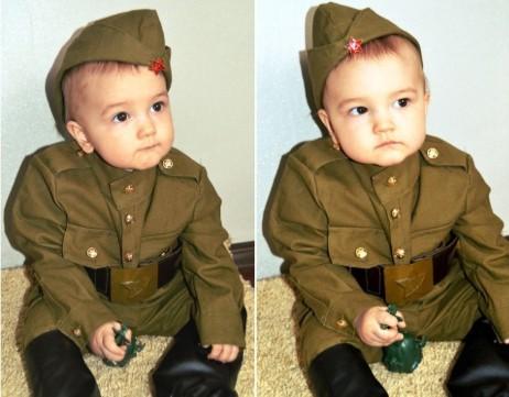 Маленький ребенок в костюме солдата: 2 фотографии