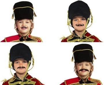 4 головы детей-гусаров с усами