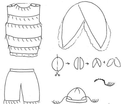 Схема костюма жука для ребенка с шортами