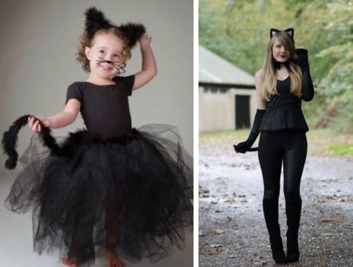 маленькая и большая кошки в черном