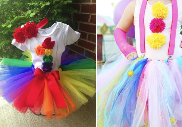 Костюмы клоуна для девочки радужной расцветки и с подтяжками