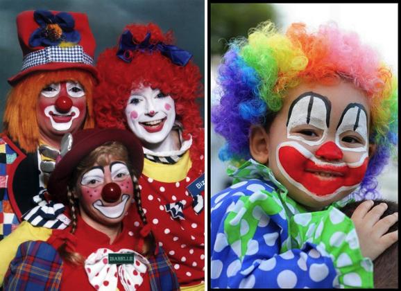Примеры клоунского грима для костюма клоуна