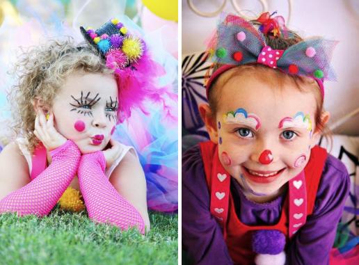 Примеры клоунского грима для детей для костюма клоуна