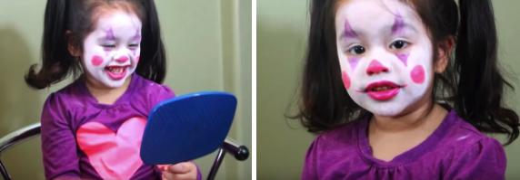 Пример грима для девочки для детского костюма клоуна