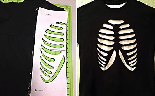 Костюм скелета для мальчика из чёрной футболки