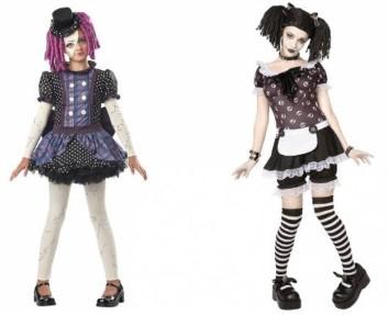 две куклы в черном платье в полный рост