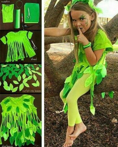 Костюм лета ярко-зелёный с листочками