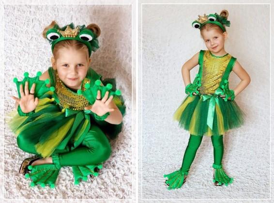 Золотисто-зелёный костюм лягушки с ободком для девочки