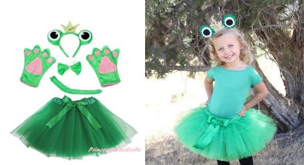 Костюм лягушки для девочки с ободком и бантиком