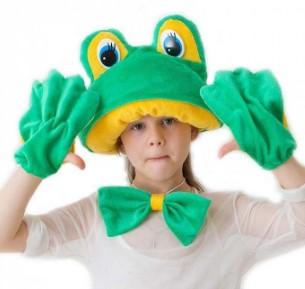 Шапочка-маска, перчатки и бантик для костюма лягушки