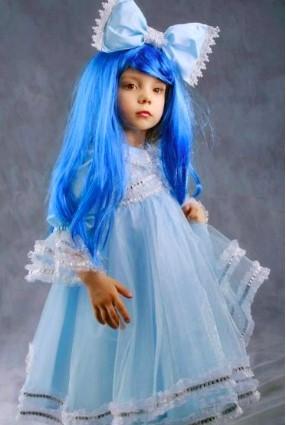 Детский костюм Мальвины из нескольких тканей