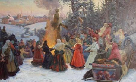 Картина народного гулянья вокруг костра