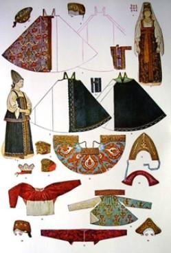 Рисунок двух женщин и нескольких деталей одежды