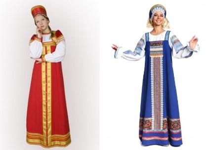 Женщина в красном и женщина в синем сарафане
