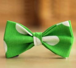 Зелено-белый галстук-бабочка