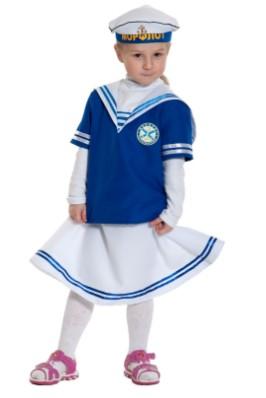 Костюм моряка с белой юбкой на девочке