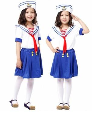Костюмы моряка с синими юбками на девочках