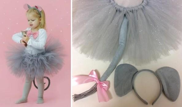 Ту-ту юбка с хвостом для детского костюма мыши
