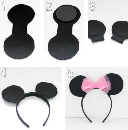 Изготовление черного ободка с ушками для костюма мыши