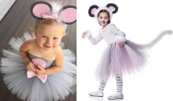 Пышная юбка и ободок с ушками для костюма мыши для девочки