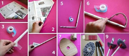 9 картинок на розовом фоне изготовления шпаги