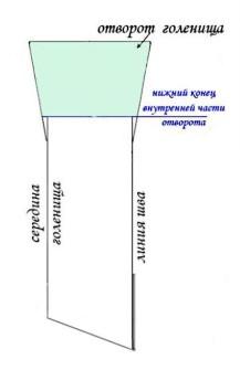 Выкройка голенища и отворот ботфорта