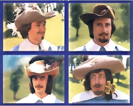 4 головы мушкетеров в шляпах